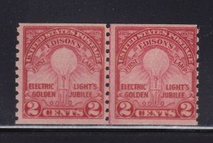 656 Line Pair F-VF original gum lightly hinged nice color cv $ 55 ! see pic !
