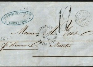 French Colonies GUADELOUPE Transatlantic Cover *Pointe-a-Pitre* CDS 1862 S233