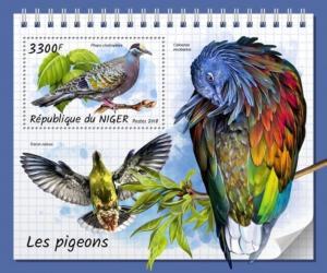 Niger - 2018 Pigeons on Stamps - Stamp Souvenir Sheet - NIG18315b