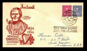 Ireland 1954 Newman's U FDC / Staehle Cachet / Light Crease - L11223