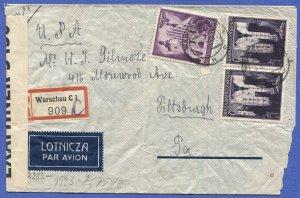 POLAND (General Govt) 1941 Rare BERMUDA Censored cover, Warsaw to USA