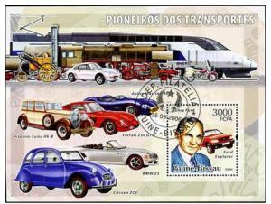 GUINE BISSAU SHEET USED TRAINS CARS LOCOMOTIVES FORD