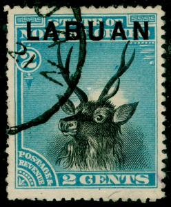 LABUAN SG63b, 2c blue, USED. Cat £15. P.14.