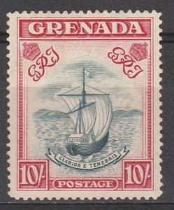 GRENADA 1938 SHIP 10/- SLATE BLUE & BRIGHT CARMINE PERF 14 NARROW PRINTING