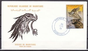 Mauritania, Scott cat. C172 only. Osprey Bird value. First day cover. ^