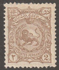 Persian stamp, Scott#105, mint, hinged, 2ch, brown, gum, #ED-249