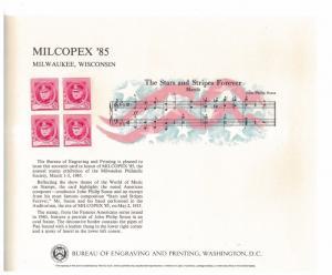 BEP B76 Souvenir Card Milcopex 1985, unused w/envelope