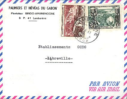 French Equatorial Africa 5F and 10F FIDES 1961 Lambarene, Gabon Airmail to Li...