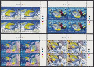 Barbados WWF Queen Triggerfish Diving 4v Top Right Corner Blocks of 4