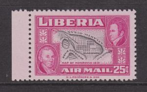 Liberia San 101a MNH. 25c Air Mail w/ Inverted Center, VF