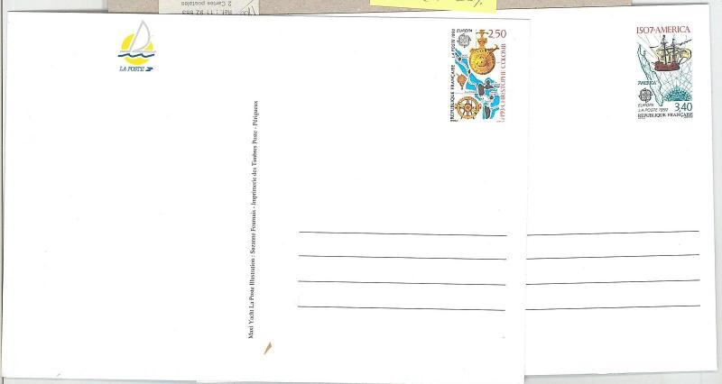 65165 - FRANCE - POSTAL HISTORY: 2  STATIONERY CARDS 1992 Europa COLOMBUS