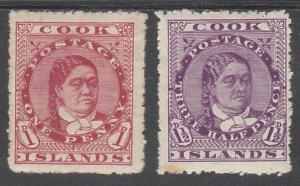 COOK ISLANDS 1913 QUEEN 1D AND 112/D PERF 14