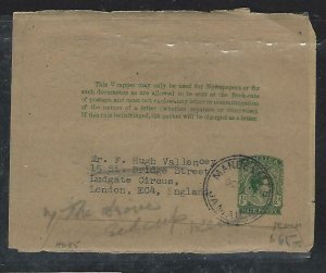 JAMAICA  (P2808BB)    KGVI  1/2D PS WRAPPER MANDEVILLE TO ENGLAND