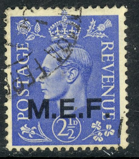 GREAT BRITAIN MIDDLE EAST FORCES 1943 KGVI 2 1/2d London Printing Sc 12 VFU