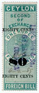 (I.B) Ceylon Revenue : Foreign Bill 80c on 1R 50c OP (Second)