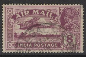 INDIA SG224w 1929 8a PURPLE WMK STARS POINTING LEFT USED
