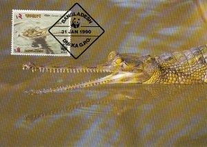Bangladesh 1990 Maxicard Sc #341 2t Gravial crocodile WWF