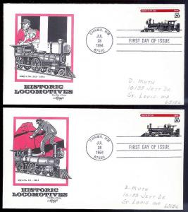UNITED STATES FDCs (5) 29c Locomotives 1994 Artmaster