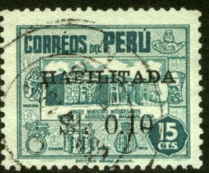 Peru 446, 10c on 15c Habilitado surcharge. Used. (305)