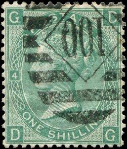 Great Britain - Scott #54 - 1867 QV 1/- Green Plate 4 - VF Used