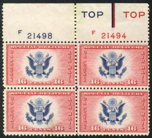 US #CE2 PLATE BLOCK, SUPERB mint never hinged, LARGE TOP PLATE, SUPER CHOICE!