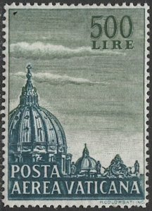 VATICAN CITY Italy 1958  Sc C33  MLH VF 500L  Dome of St Peter's