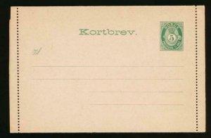 NORWAY Mi. K1 I POSTAL STATIONERY LETTER CARD AFSENDER 5o FLAP 37-44MM