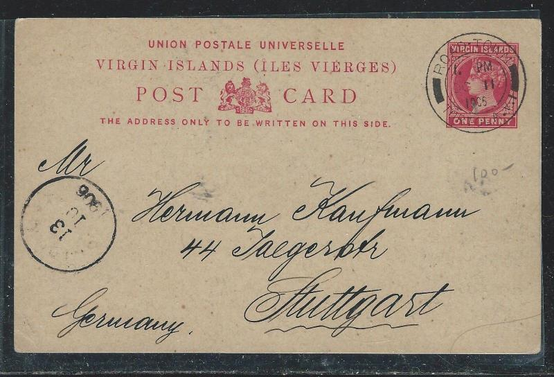 VIRGIN ISLANDS (P2712B) 1906 QV 1D PSC TO GERMANY WITH MSG