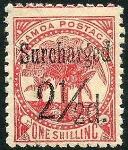 Samoa SG86 2 1/2d (Black) on 1/- dull rose-carmine M/M Cat 15 pounds