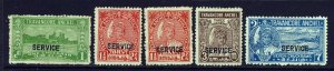 TRAVANCORE INDIA 1927 OFFICIAL Ovptd 27th. Birthday Group SG O87 to SG O92 MINT
