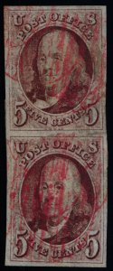 Scott #1 Red Brown - VF/XF Franklin 5c - Used Pair - Tear Between Stamps - 1847