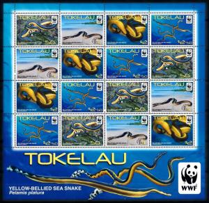 [78656] Tokelau 2011 Marine Life Sea Snake WWF Full Sheet MNH