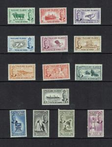 Falkland Islands: 1952, King George VI definitive set, complete, MLH.