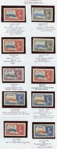 Montserrat 1935 Silver jubilee TEN UNLISTED VARIETIES Set U/M