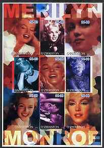 Uzbekistan 2002 Marilyn Monroe #2 imperf sheetlet contain...