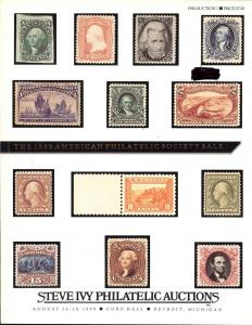 The 1988 American Philatelic Society Sale, Ivy Aug 26-28,...