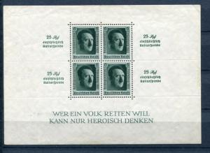 Germany 1937 Mi Block 11 Sc B106 Cv €340