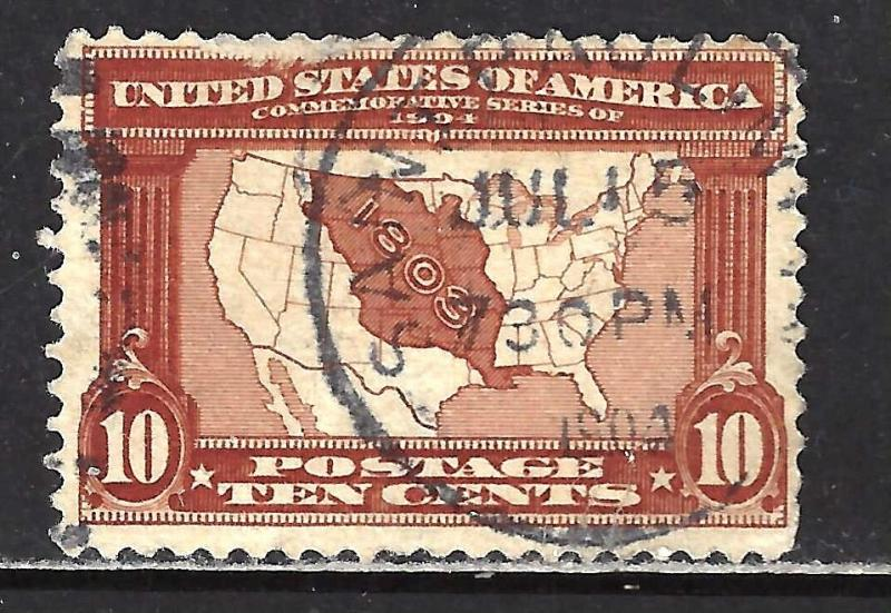 #327 US 10 CENT DARK RED BROWN MAP-USED-N/G