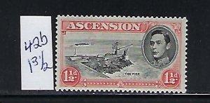 ASCENSION IS. SCOTT #42B 1938-53 GEORGE VI 11/2 P (RED)-PERF 131/2  MINT LH