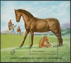 1985 Burkina Faso 1042/B118 Horses 6,50 €