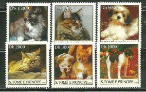 St. Thomas & Prince Islands MNH 1519A-F Cats & Dogs 2003 SCV 9.50