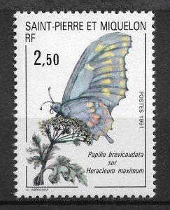 St.Pierre & Miquelon 1991, Butterflies, Scott # 554,VF MNH**OG (SL-1)