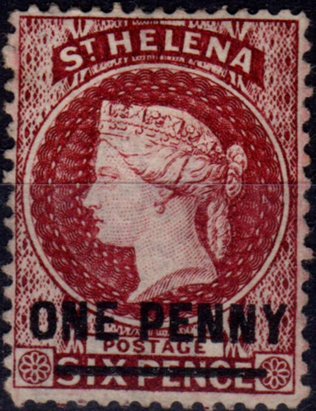 St Helena 1876 1d Lake SG21 P.14 x 12.5 Type B Fine & Fresh Unused