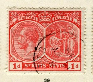 ST.KITTS; 1921 early GV issue fine used Columbus issue 1d. value