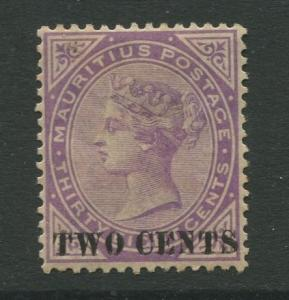 STAMP STATION PERTH: Mauritius #86 MNG 1891  Single 2c on a 38c Stamp