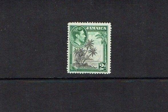 Jamaica: 1938 King George VI Pictorial definitive 2d with 'extra branch' flaw.