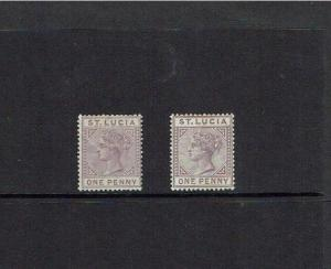 St Lucia: 1886 / 91 Queen Victoria Key Plate, Die 1 / II, 1d mauve,   MLH