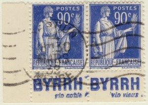 FRANCE - 1938 Pub BYRRH (vin noble, vin vieux)  sur paire Yv.368a 90c Paix t.I