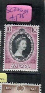 MALAYA  MALACCA    (PP1606B) QEII  CORONATION  SG 22   MOG