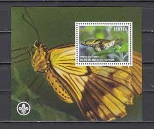 Benin, 2007 Cinderella issue. Butterfly s/sheet. Scout logo..